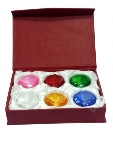 Set Of 6 Clear Multi Colour Crystal Glass Paperweight Diamonds
