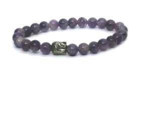 Amethyst Buddha Stretch Bracelet ( 7 MM )