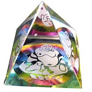 Glass Pyramid With Laughing Buddha Engraved For Wealth, Health, Prosperity