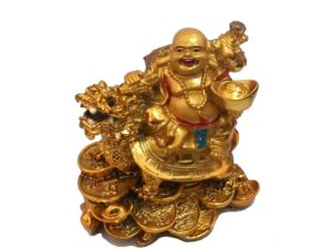 Golden Laughing Buddha On Dragon Tortoise Lucky Coins For Luck And Prosperity