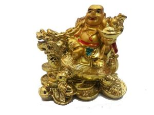 Golden Laughing Buddha On Dragon Tortoise Small( 3 Inches) For Luck & Prosperity