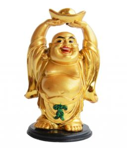 Laughing Buddha Lifting A Huge Ingot ( 5 Inches )