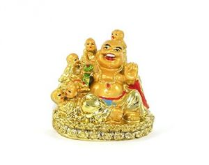 Golden Laughing Buddha With Five Kids Small