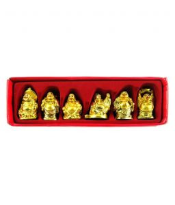 Small Laughing Buddha Set (golden Polish) (6 Pcs) Happy Man For Happiness