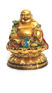 Big Laughing Buddha Sitting On Flower For Good Luck & Prosperity