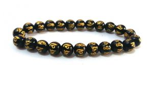 Black Onyx Om Mani Padme Hum Carved Stretch Bracelet ( 10 MM )