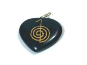 Black Agate Cho Ku Rei Symbol Engraved Heart Shaped Pendent