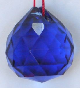 Blue Faceted Feng Shui Crystal Glass Ball ( 40 MM )