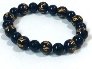 Blue Gold Stone Tibetan Om Mani Padem Hum Engraved Stretch Bracelet ( 10 MM )