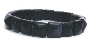 Blue Gold Stone Pyramid Shaped Stretch Bracelet ( 9 MM )