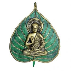 Lord Buddha Meditating Wall Leaf Hanging Home Decor Buddhism Metal Art