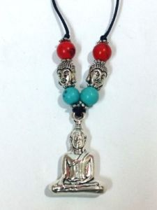 Tibetan Meditating Buddha Amulet Pendent In White Metal For Peace & Luck