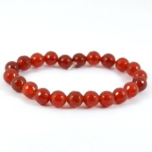 Carnelian 8 MM Diamond Cut Stretch Bracelet
