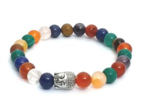 Chakra All In 1 Crystals / Stone Buddha Head Stretch Bracelet