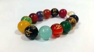 Tibetan Multicolor Crystals Om Mani Padme Hum Engraved Stretch Bracelet (15mm )