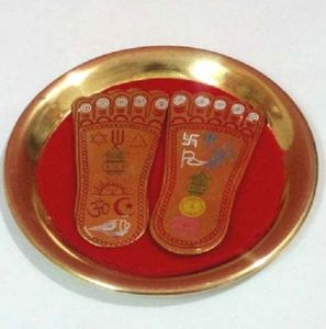Brass Shree Ma Laxmi Charan Paduka On A Plate For Prosperity ( 4.5 Inches )