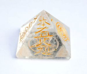 Clear Quartz Crystal 4 Reiki Symbol Engraved Pyramid ( Small Size )