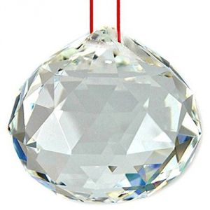 White Faceted Feng Shui Crystal Ball ( Big 58 MM )