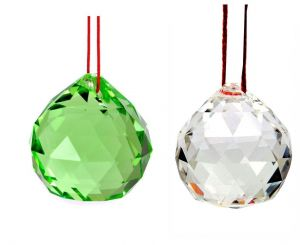 White And Green Faceted Feng Shui Crystal Ball ( 40 MM )