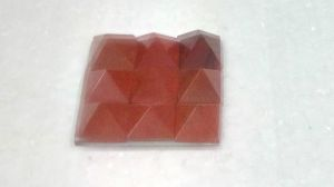 Red Jasper Set Of 9 Small Pyramids On A Glass Plate (crystal Healing) Pyramids