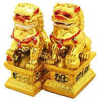 Fu Dogs Fengshui Statue (golden Color) Fengshui Vastu Astrology