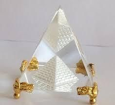 Feng Shui - Crystal Glass Pyramid With Golden Metal Base Healing Crystal Feng Shui Pyramid