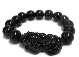 Pi Yao With Obsidian Bracelet (black Color) For Protection Prosperity And Luck