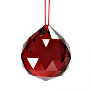 Dark Red Faceted Feng Shui Crystal Ball ( 40 MM )