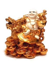Golden White Laughing Buddha On Dragon Tortoise Lucky Coins For Luck And Prosperity
