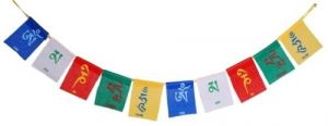 Tibetan Buddhist Om Mani Padme Hum Prayer Multicolor Flags