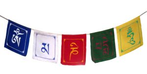 Tibetan Buddhist Om Mani Padme Hum Prayer Multi Colour Flags ( Big Flags )
