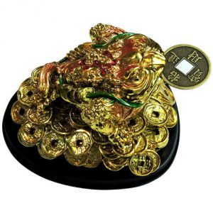 Tri Leg Frog Feng Shui With Base (big) (golden Color) Money Frog Money Todd