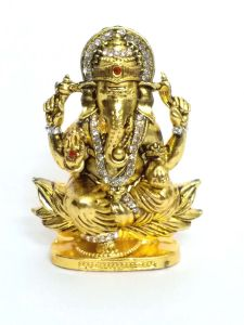 Ganesha Ji Metal Statue Golden Finished With Jerkin Diamonds For Your Car