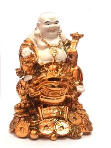 Golden White Laughing Buddha On Feng Shui Money Frog (big Size 5 Inches )