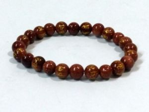 Tibetan Om Mani Padme Hum Engraved Gold Stone Stretch Bracelet ( 8 MM )
