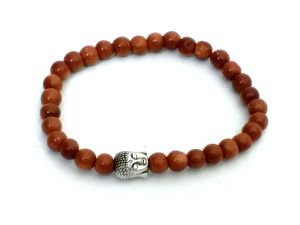 Gold Stone Buddha Bracelet Small 7 MM