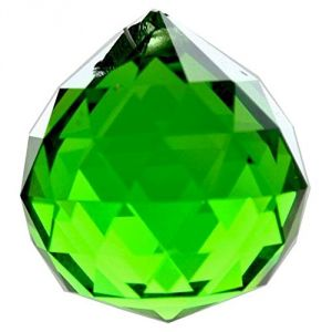 Green Faceted Feng Shui Crystal Ball ( 40 MM )