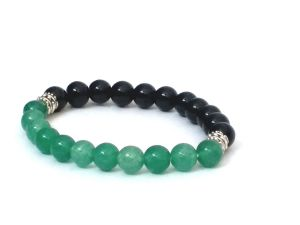 GREEN AVENTURINE & BLACK ONYX STONE STRETCH BRACELET (8 MM) (  CODE - GRNBLKBR8 )