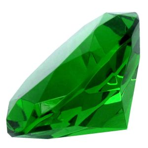 Green Clear Crystal Diamond Paperweight Engravable ( 75 MM ) ( Code - Grndiamond75 )