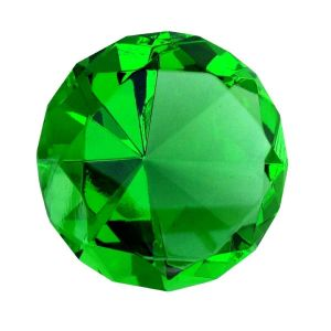 Green Clear Crystal Diamond Paperweight Engravable ( 98 MM )