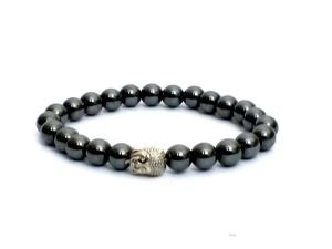 Haematite Mala Buddha Head Power Stretch Bracelet