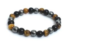 Hematite, Black Onyx Tiger Eye Stone Stretch Bracelet ( 8 MM ) For Protection ( Code Tigerhemabr8 )