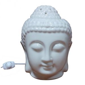 WHITE Ceramic Buddha Head Fragrance ELECTRIC Oil Warmer Lamp / DIFFUSER SET WITH 10 ML AROMA OIL