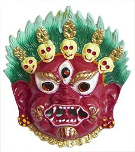 Mahakaal Mask Metal Wall Hanging ( Red) (5 Inch), Najarbatoo,evil Eye Protector