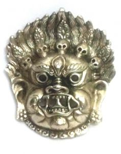 Mahakaal Mask Metal Wall Hanging ( White ) , Najarbatoo,evil Eye Protector