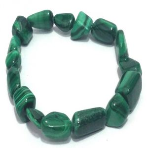 Malachite Stone Tumbled Stretch Bracelet