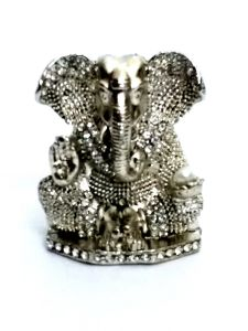 Shree Ganesha Ji Metal Statue Antique Finished With Jerkin Diamonds For Your Car