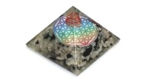 Moon Stone Flower Of Life Orgone Pyramid ( 60 MM )