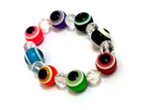 Multi Color Glass Bead Evil Eye Stretch Bracelet For Protection And Luck ( 9 Mm) ( Code - Mltclrbr )