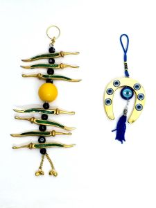 Evil Eye Golden Nimbu Mirchi Car / Home Metal Hanging & Horse Shoe Hanging